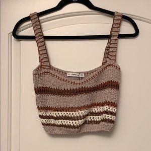 NWT Zara crochet knit tan crop top